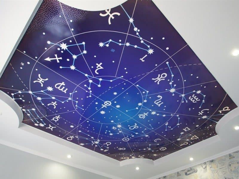 натяжной потолок с фотопечатью и звездное небо